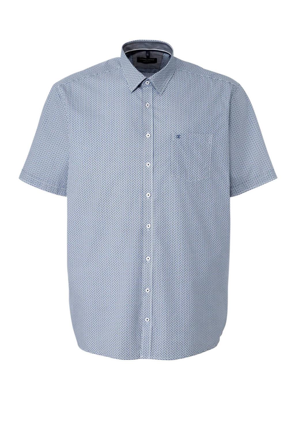 Casa Moda +size overhemd met allover print, blauw/ wit
