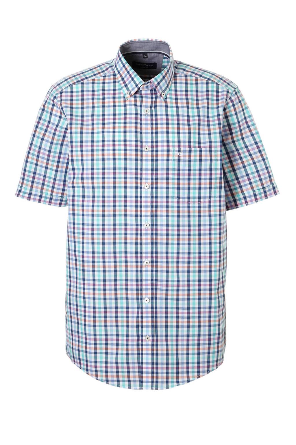 Casa Moda +size overhemd korte mouw, blauw/wit/rose