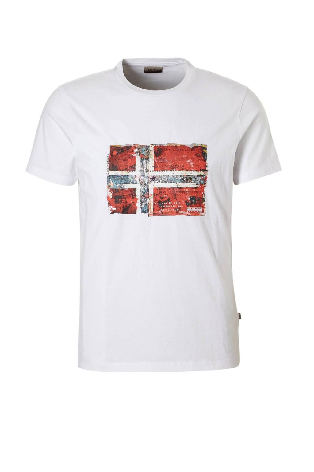 Napapijri T-shirt met printopdruk wit, Wit/ rood/ blauw