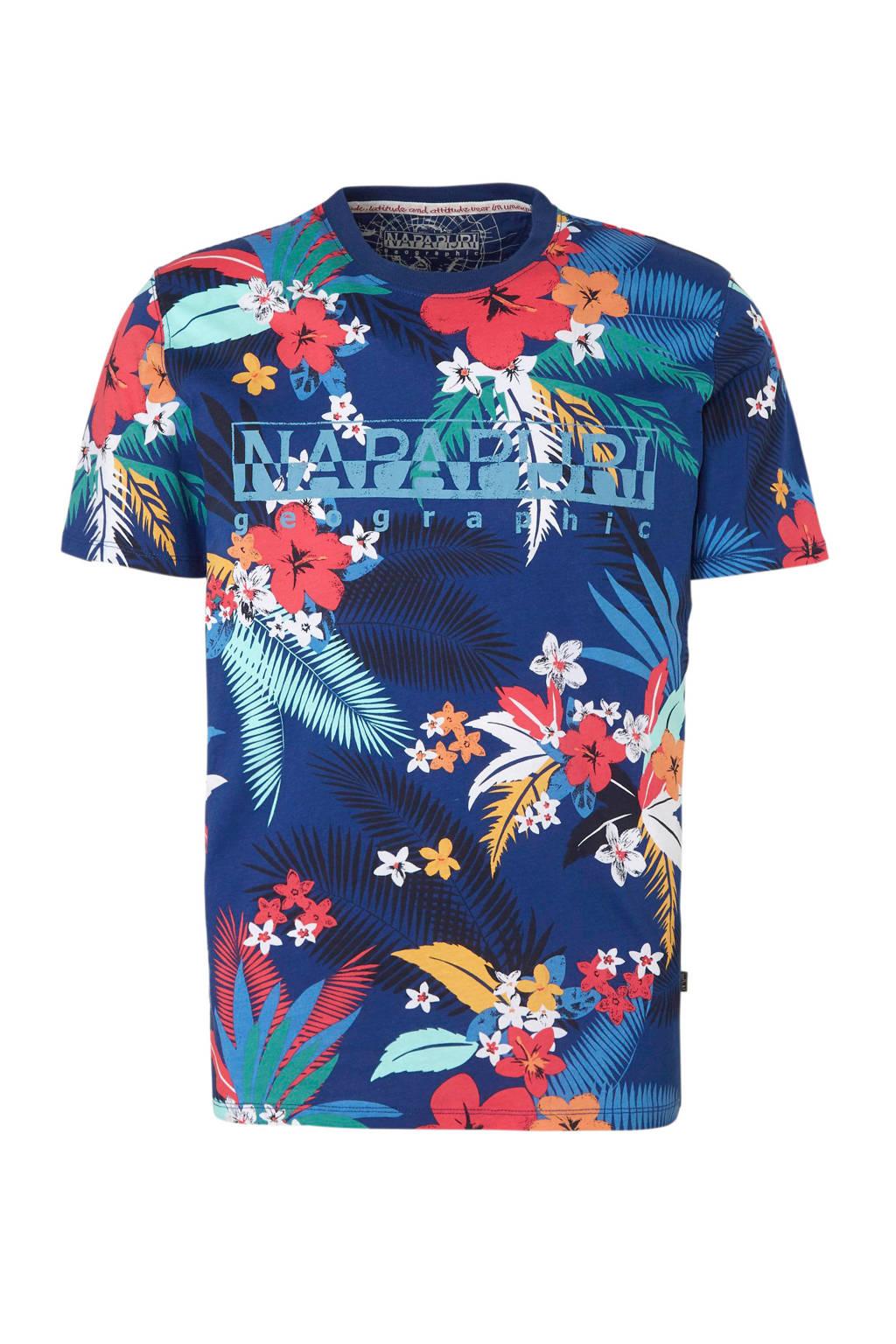 Napapijri T-shirt met bloemenprint, Blauw/multikleuren