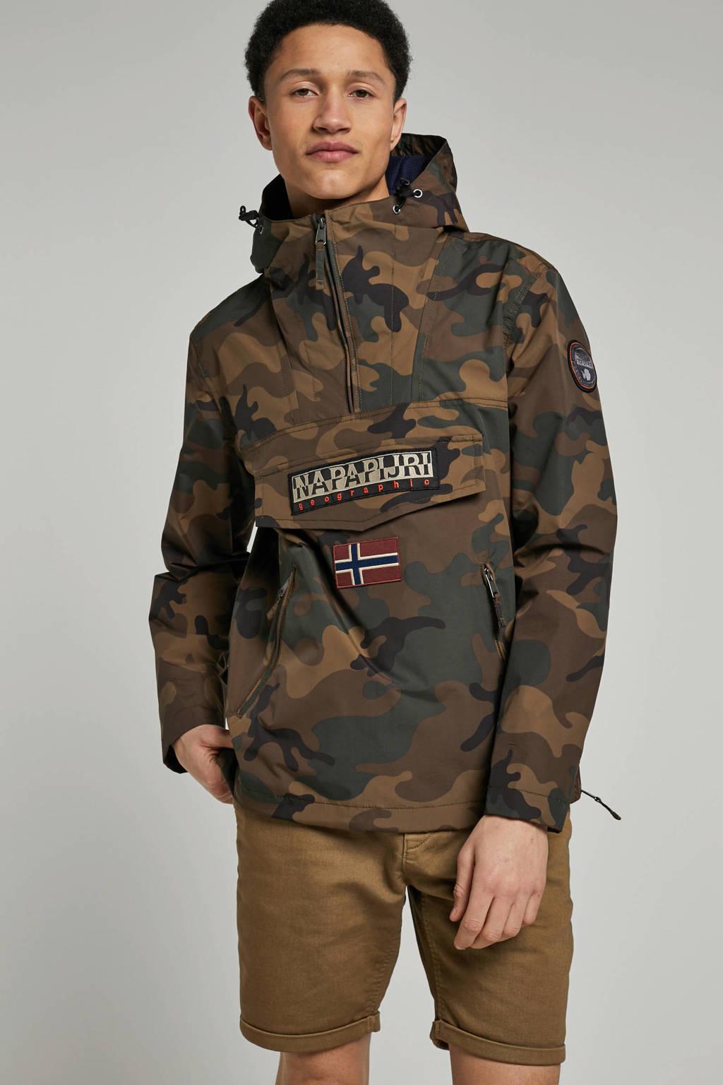 Napapijri anarok met camouflageprint bruin, Bruin/groen