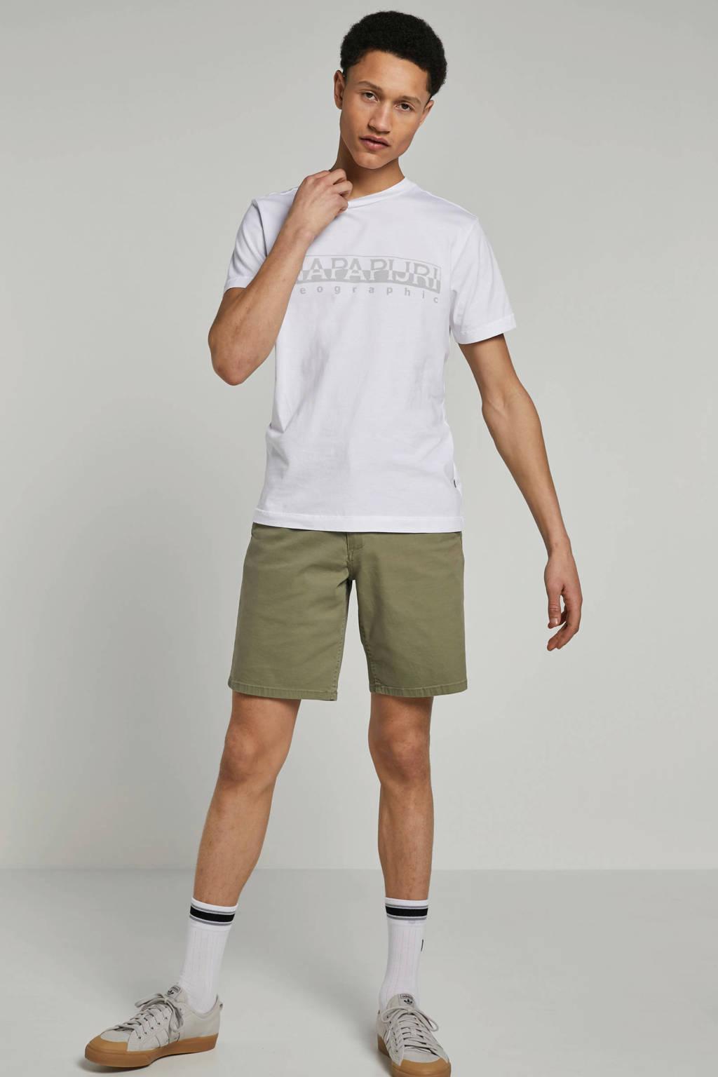 Napapijri T-shirt met logo print, wit/ grijs