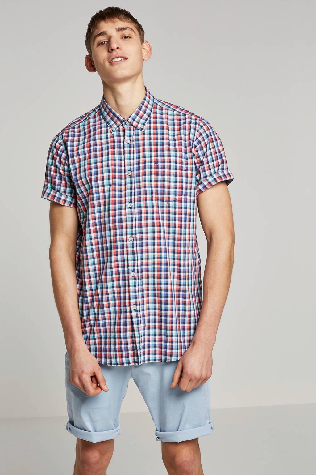 Lerros overhemd korte mouw, Rood/blauw/wit