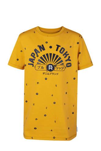 T-shirt met all over dessin geel