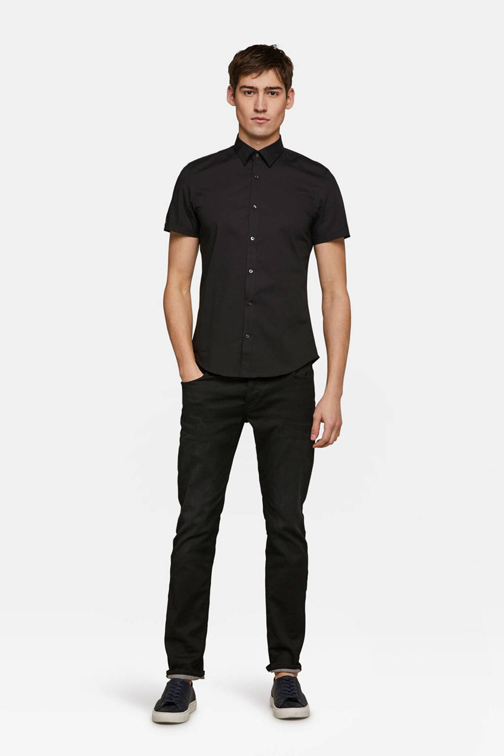 WE Fashion slim fit overhemd, Zwart