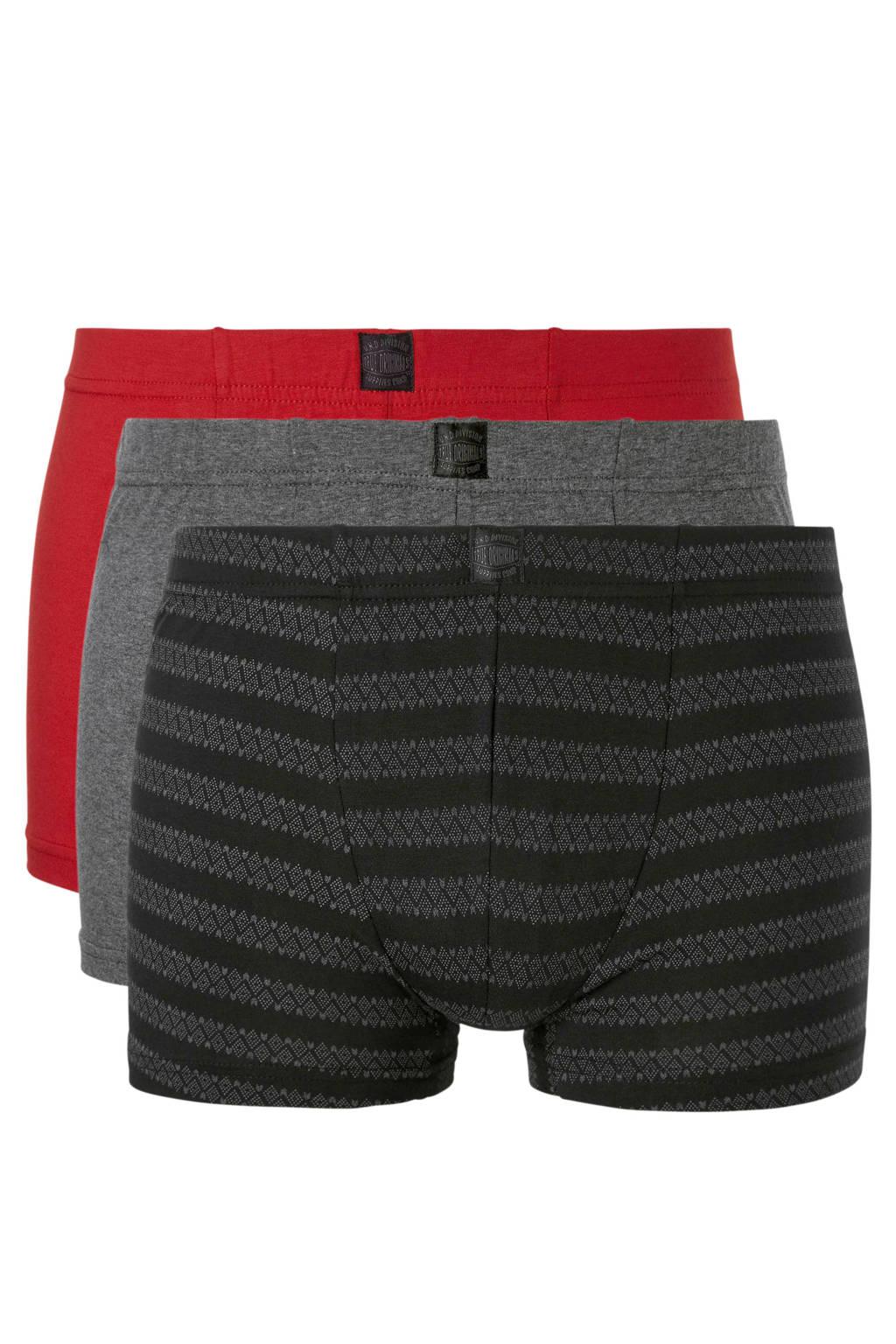 C&A Angelo Litrico boxershort (set van 3), Grijs/rood/marine