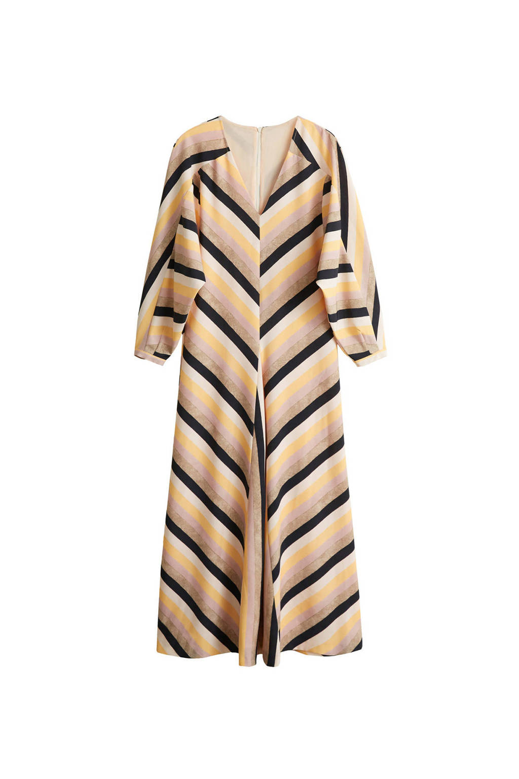 Mango jurk met streep print pastel roze, Pastel roze/ Zwart/ Ecru/ Beige/ Geel