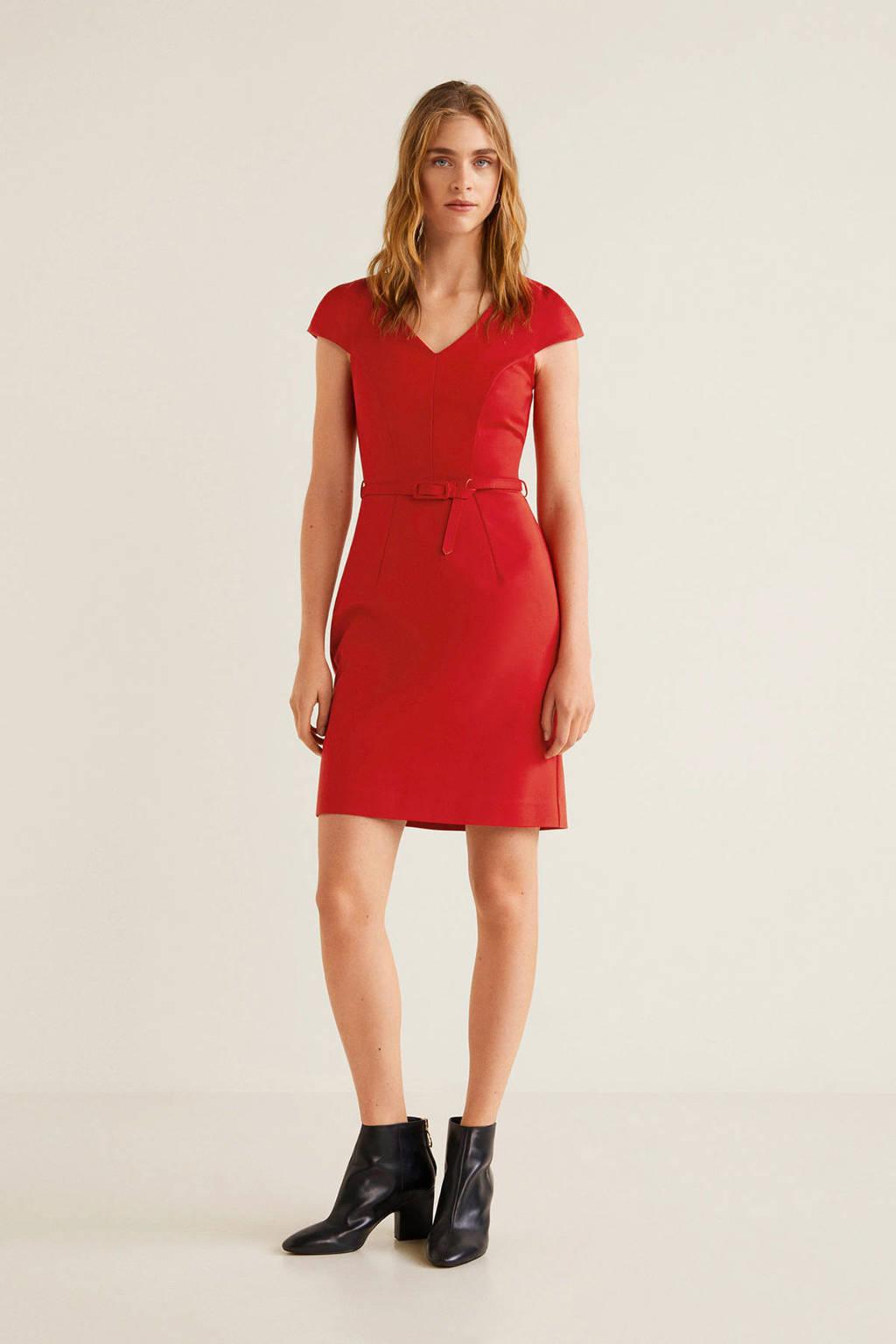 Mango jurk met ceintuur rood, Rood