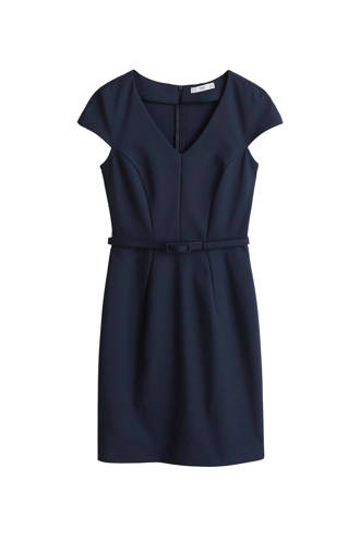 jurk met ceintuur marineblauw