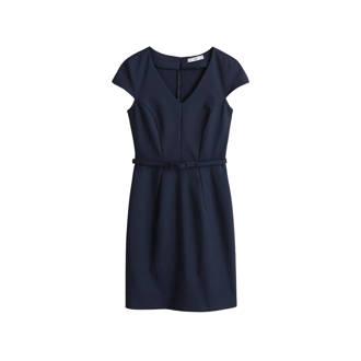 9dd61f8531369b Mango. jurk met ceintuur marineblauw