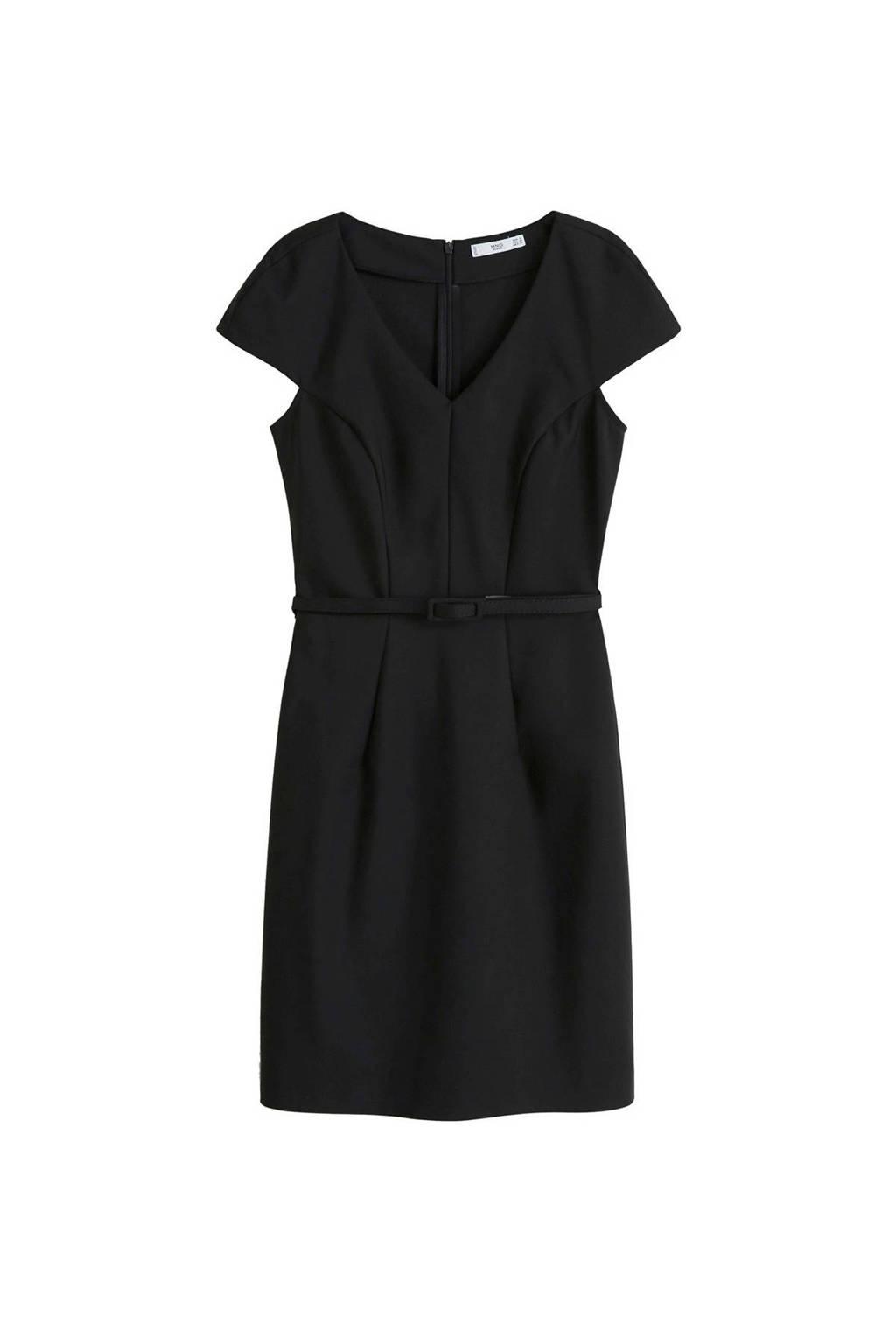 Mango jurk met ceintuur zwart, Zwart