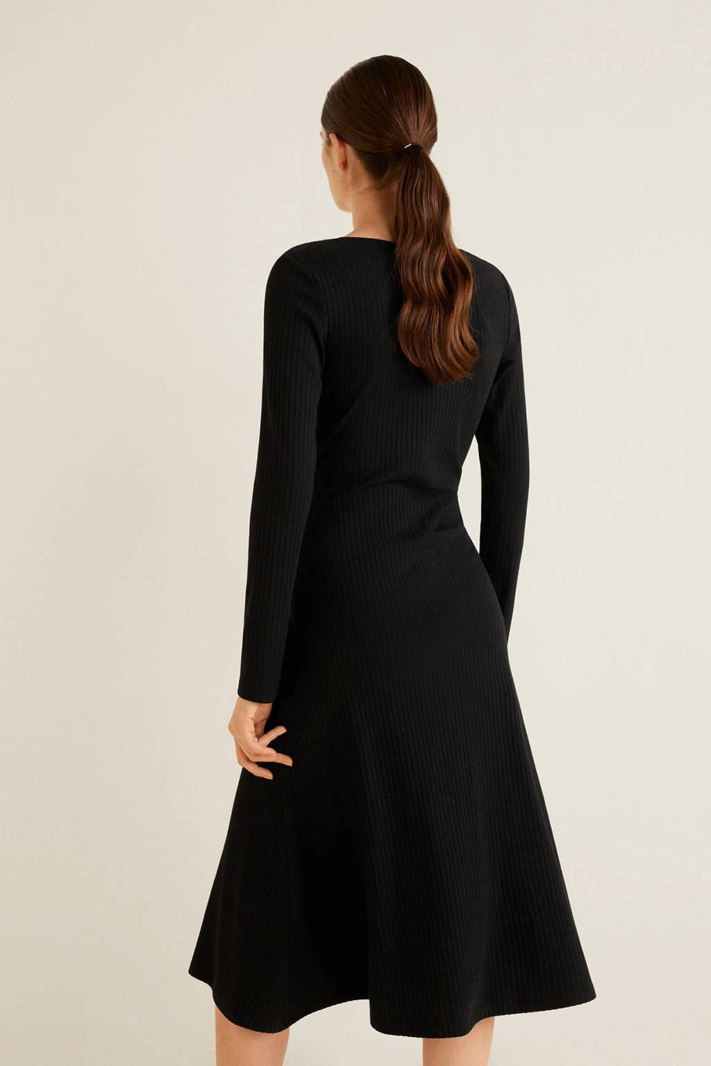 Mango jurk met decoratieve knopen zwart, Zwart
