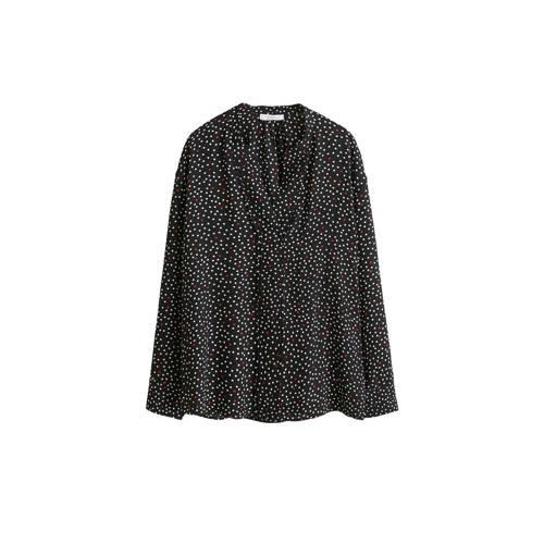 Violeta by Mango top met stippelprint zwart kopen