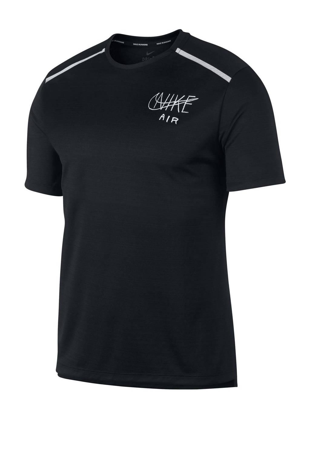 Nike   hardloop T-shirt zwart, Zwart/wit