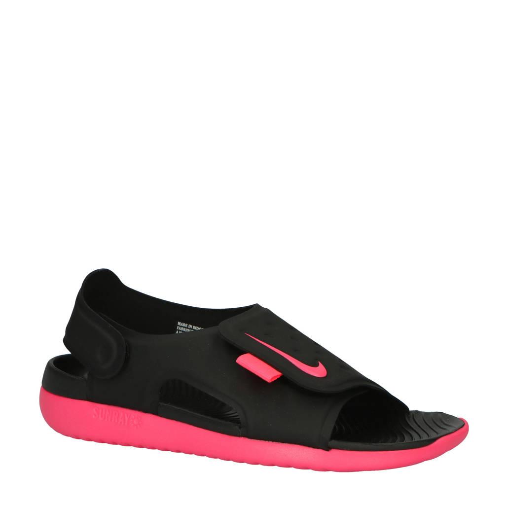 Nike   Sunray Adjust 5 waterschoenen zwart/wit kids, Zwart/roze
