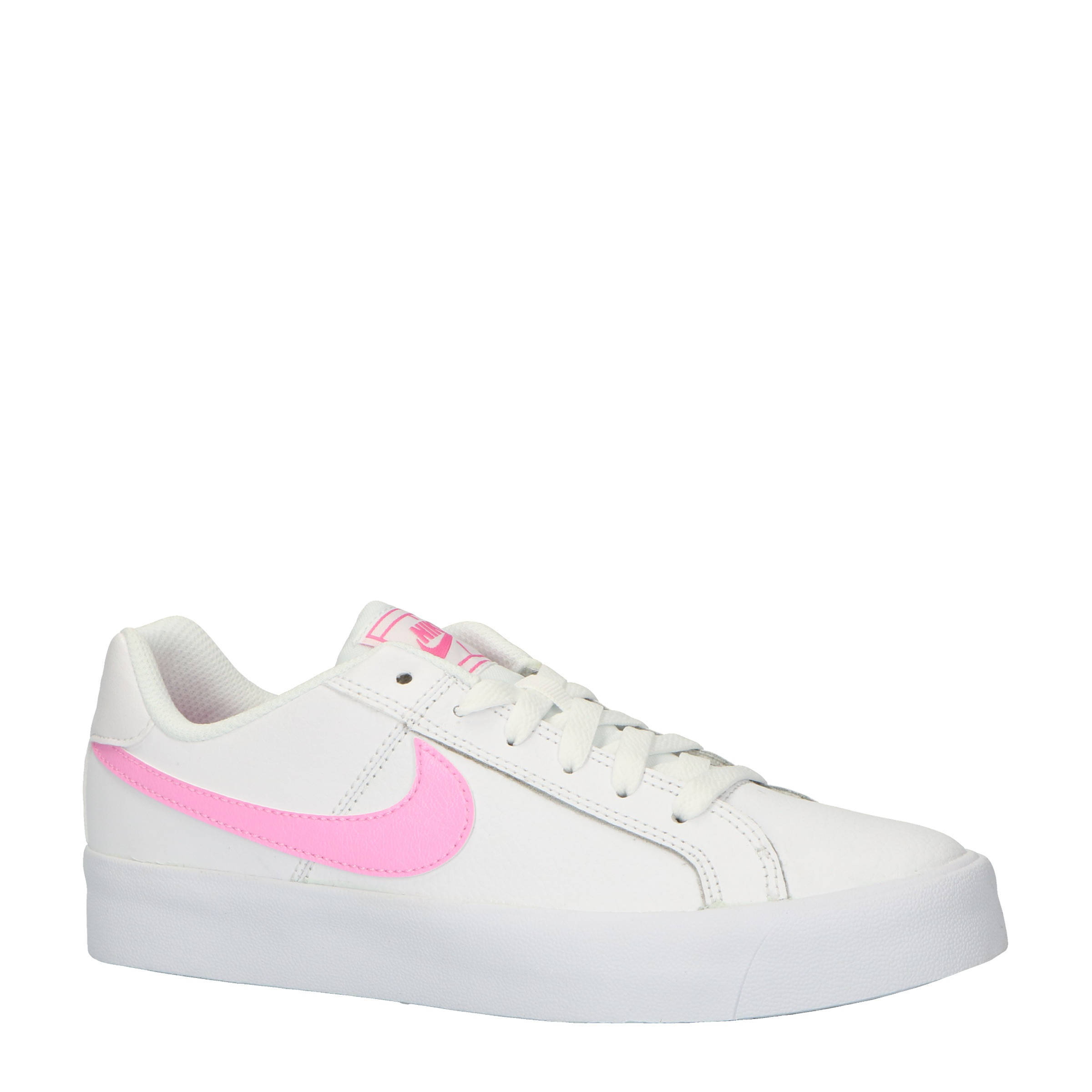 Nike Court Royale AC leren sneakers wit/roze   wehkamp