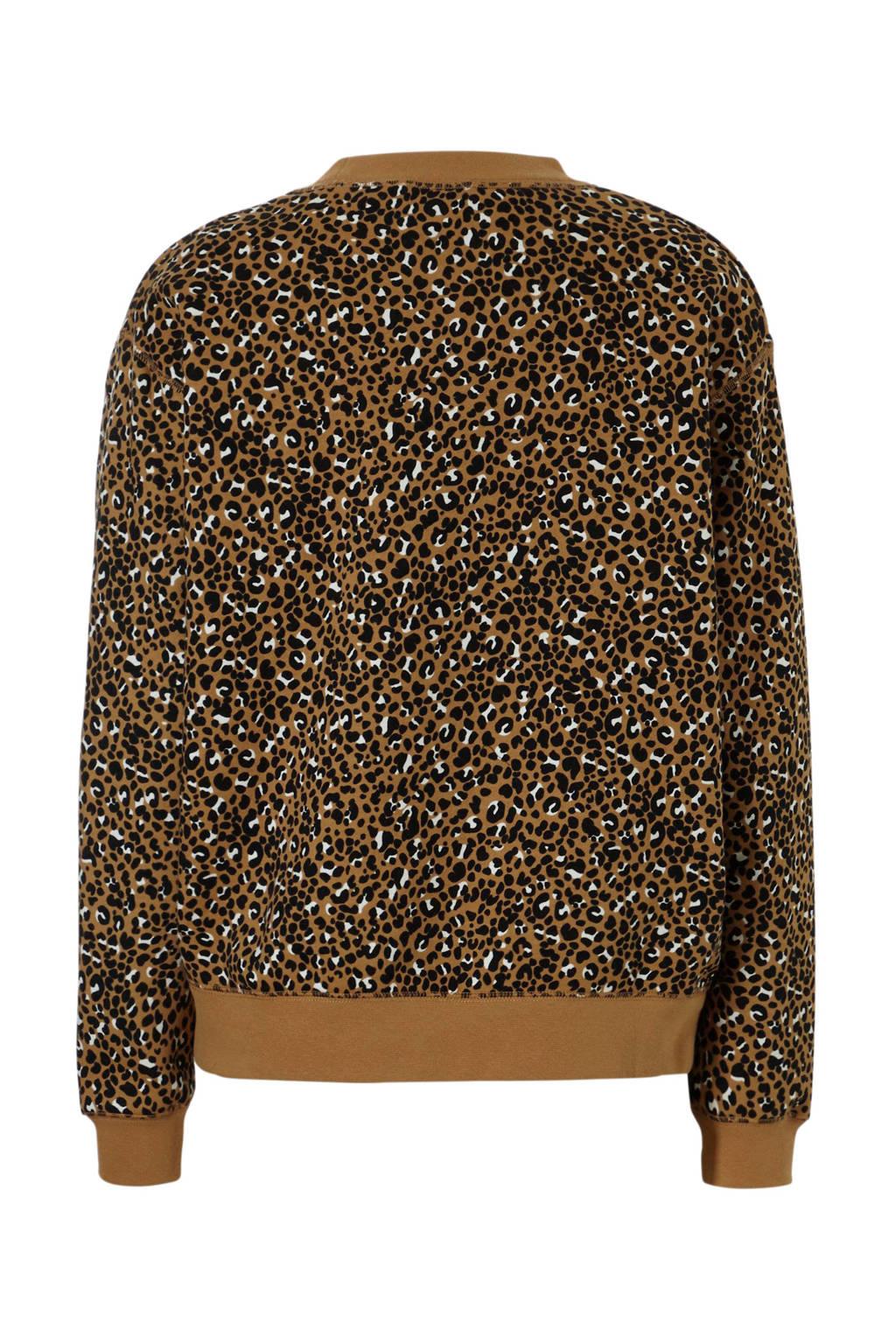 Nike sweater met all over panterprint okergeel, Okergeel/zwart/wit