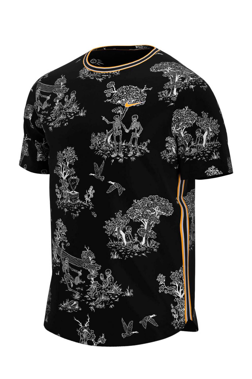 Nike   sport T-shirt zwart, Zwart/wit/geel