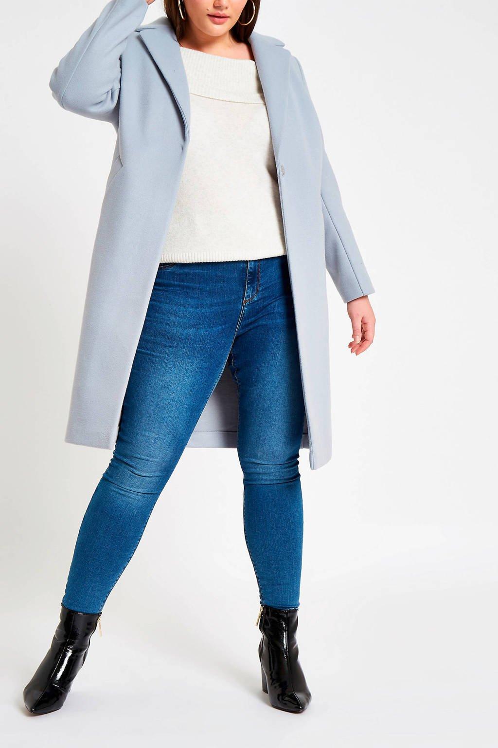 River Island Plus jas met reverskraag, Lichtblauw