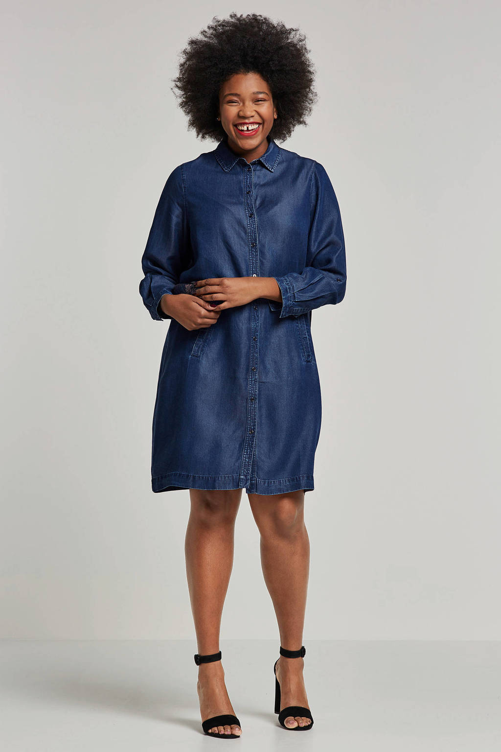 Yesta blousejurk denimlook, Donkerblauw