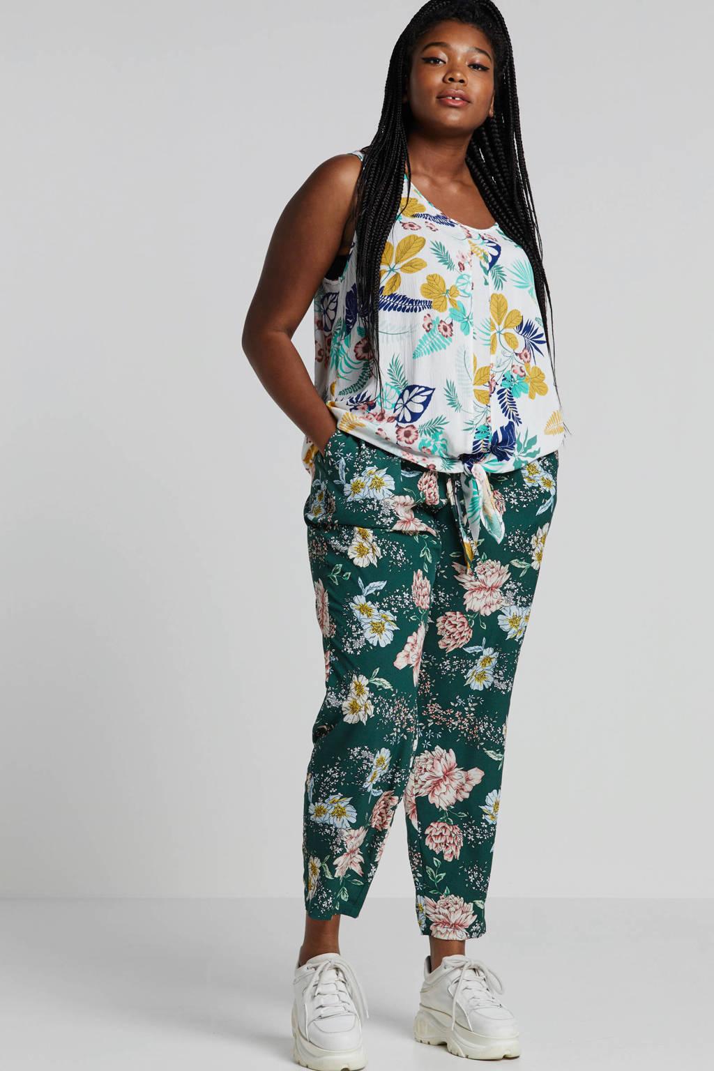Yesta mouwloze top met bloemenprint en strikdetail, Wit/multi