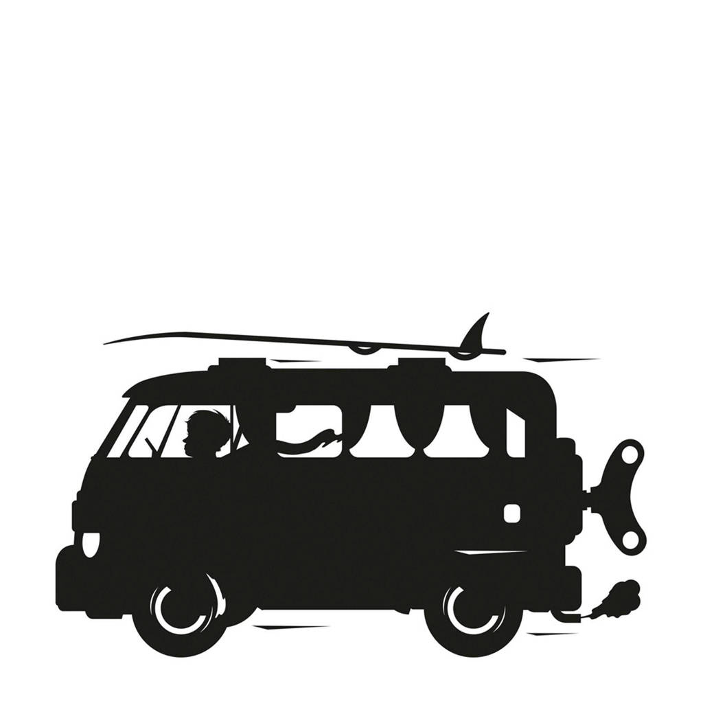 KEK Amsterdam schoolbordsticker surfbus (98x57 cm), Zwart
