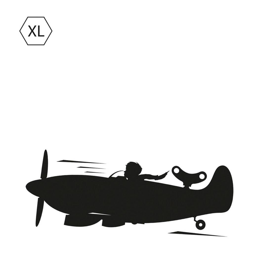 KEK Amsterdam schoolbordsticker vliegtuig (130x48 cm), Zwart