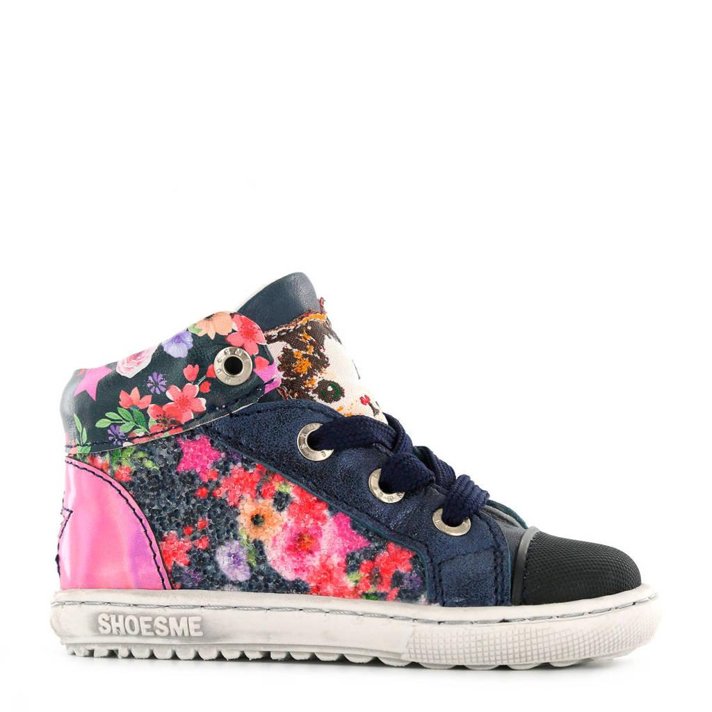 Shoesme   leren sneakers met bloemen blauw, Donkerblauw