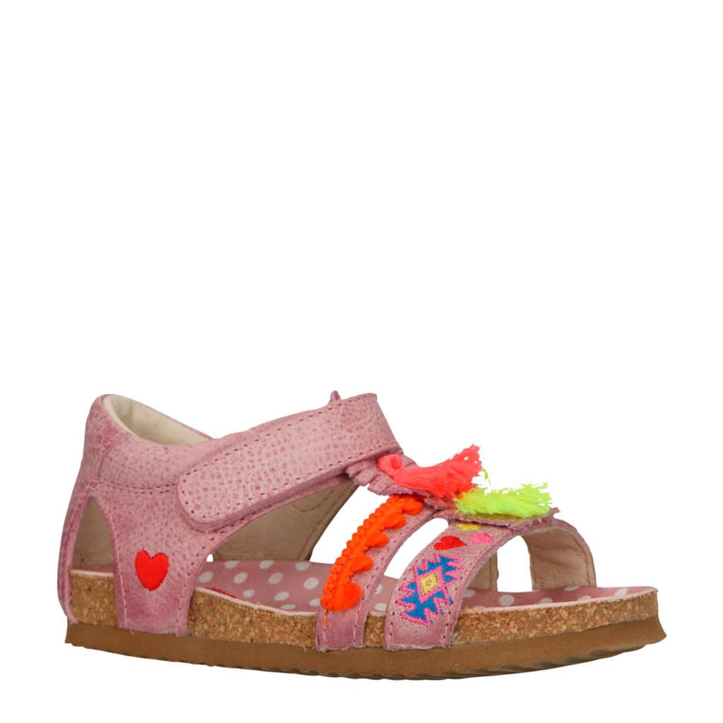 Shoesme   leren sandalen met franjes en borduursels roze, Roze