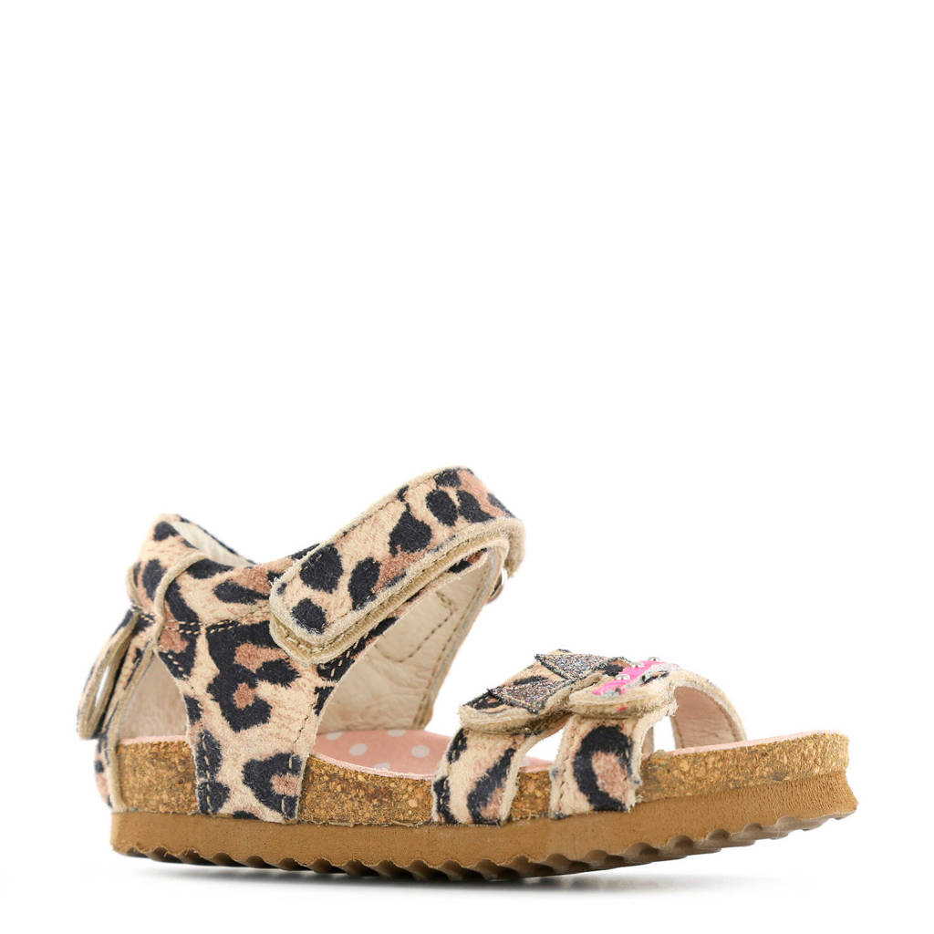 Shoesme suède sandalen met panterprint camel, Camel