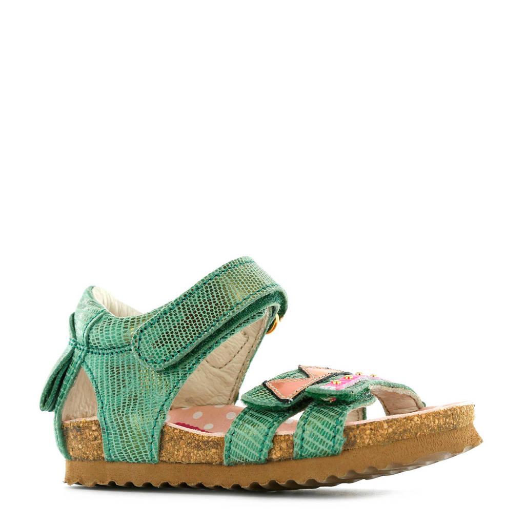 Shoesme metallic leren sandalen groen, Groen