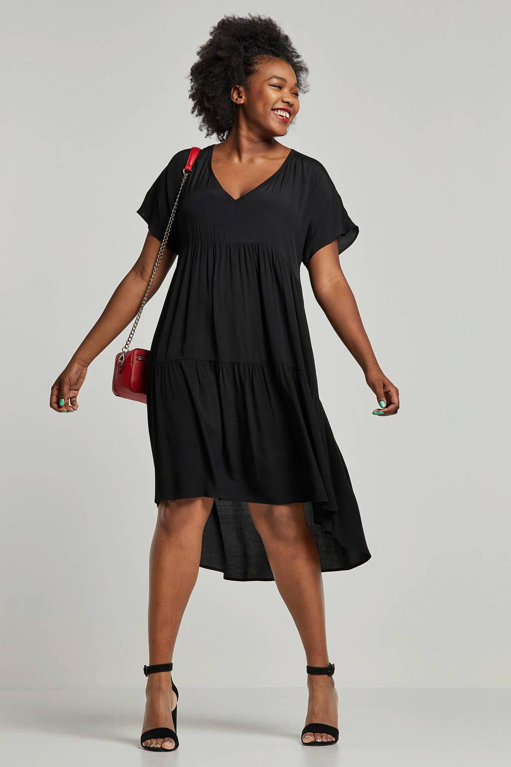 Mat Fashion tuniek met volant, Zwart