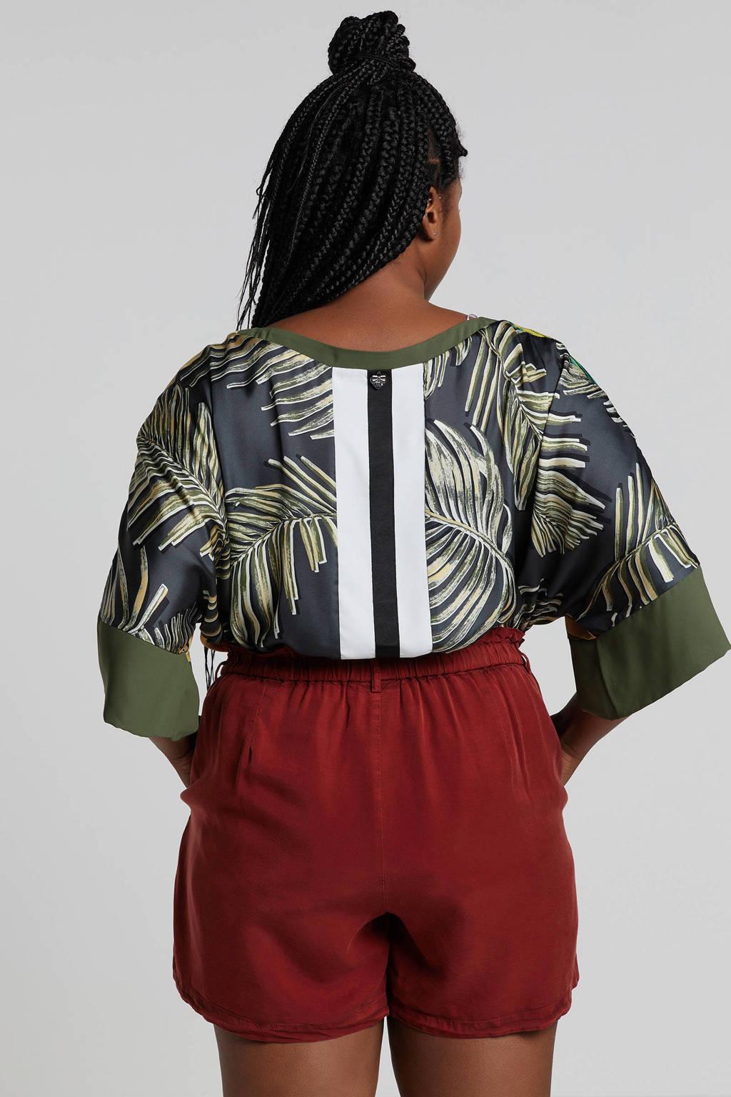 Mat Fashion top met all over print, Geel/ groen