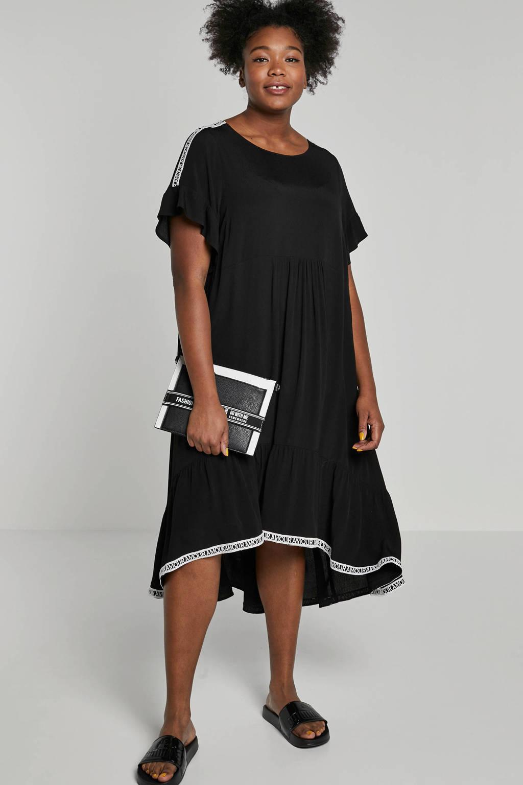 Mat Fashion jurk met contrast bies, Zwart/wit
