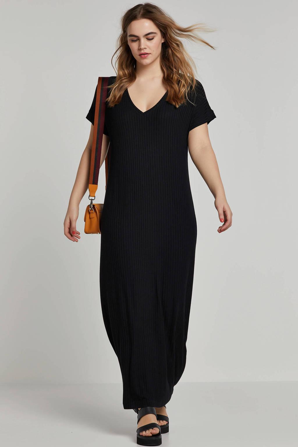 Mat Fashion jurk met V-hals en textuur, Zwart