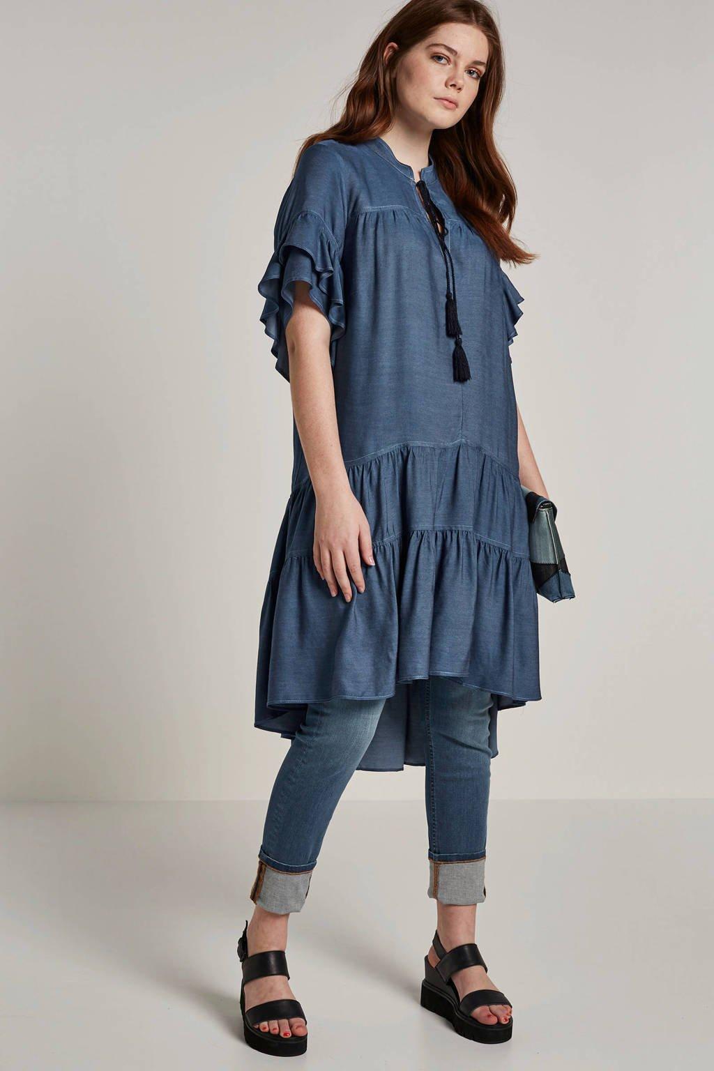 Mat Fashion tuniek met volant, Blauw