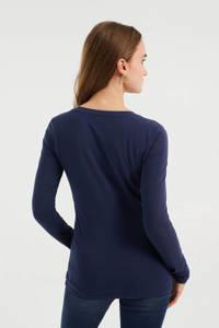 WE Fashion basic longsleeve met biologisch katoen donkerblauw, Donkerblauw