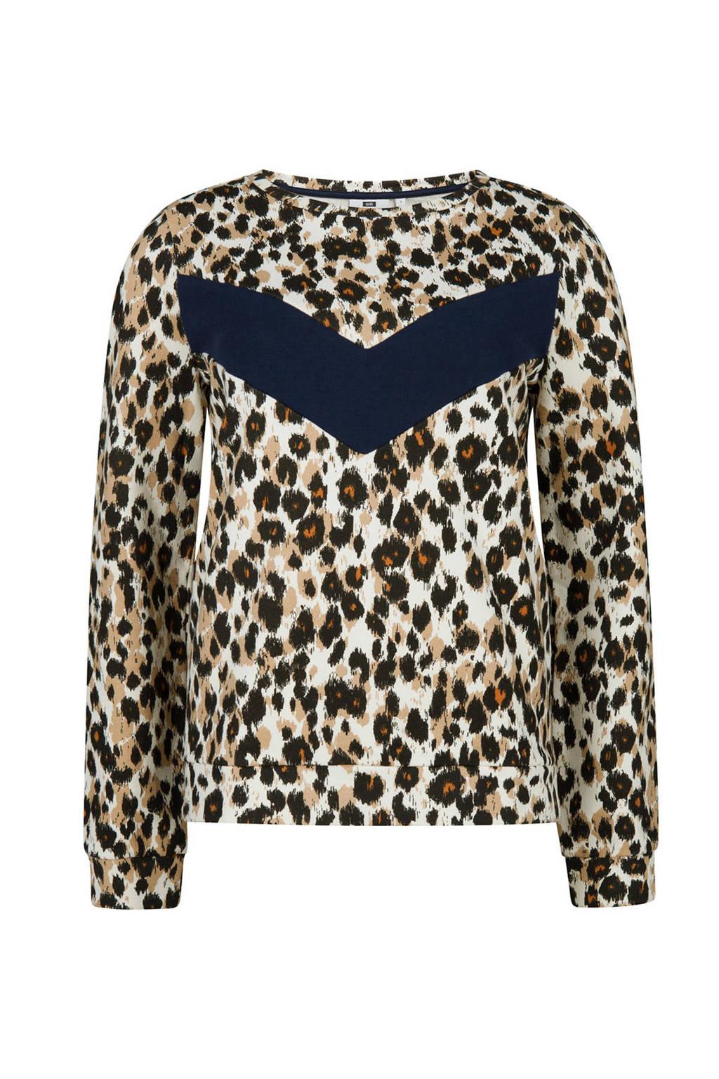 WE Fashion trui met dierenprint, Lichtbruin/zwart/blauw