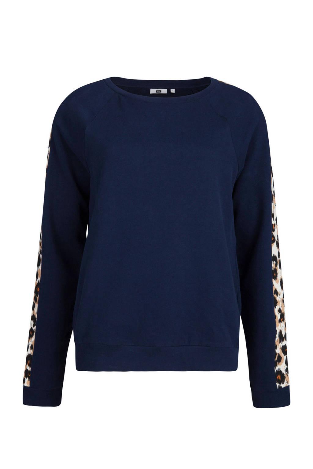 WE Fashion trui met panterprint detail, Donkerblauw