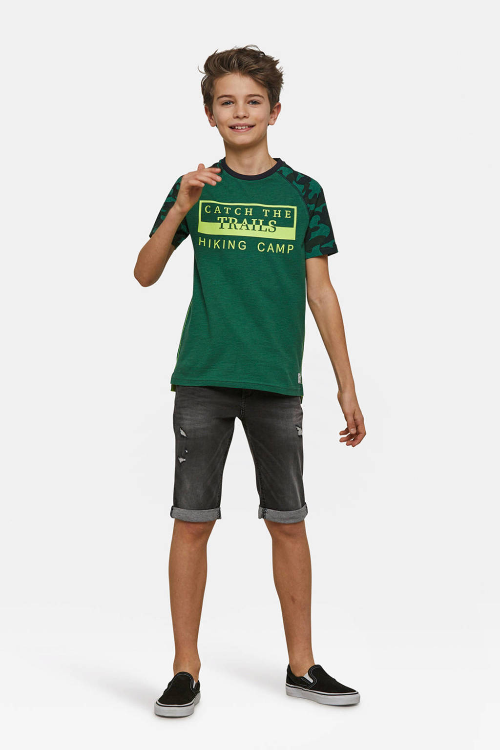 WE Fashion T-shirt met tekst groen, Groen/donkerblauw