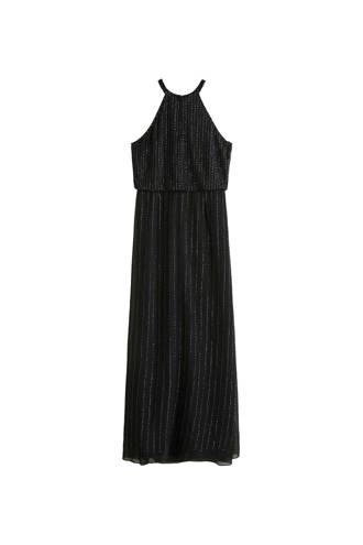 jurk versierd met pailletten zwart
