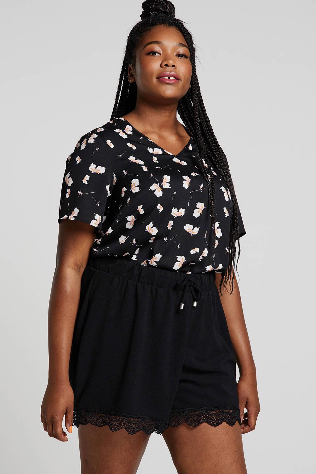 Zizzi blouse met all over print donkerblauw/roze, Donkerblauw/roze