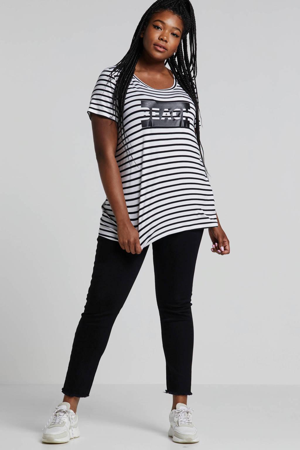 Zizzi T-shirt met streepdessin wit, Wit/zwart