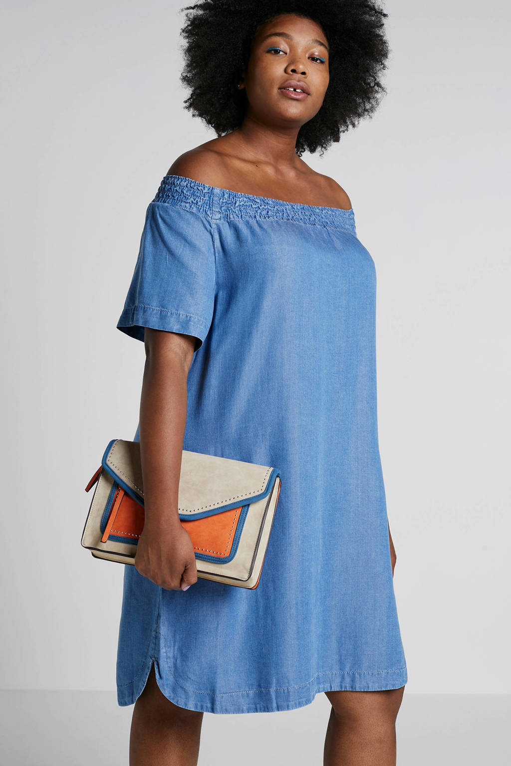 Zizzi off shoulder denim look, Blauw