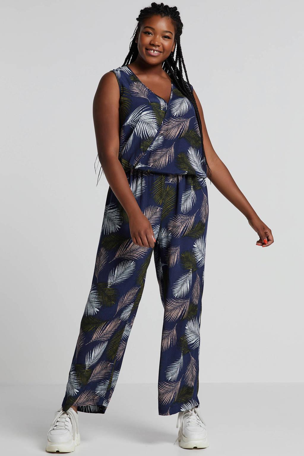 Zizzi jumpsuit met bladprint blauw, Blauw