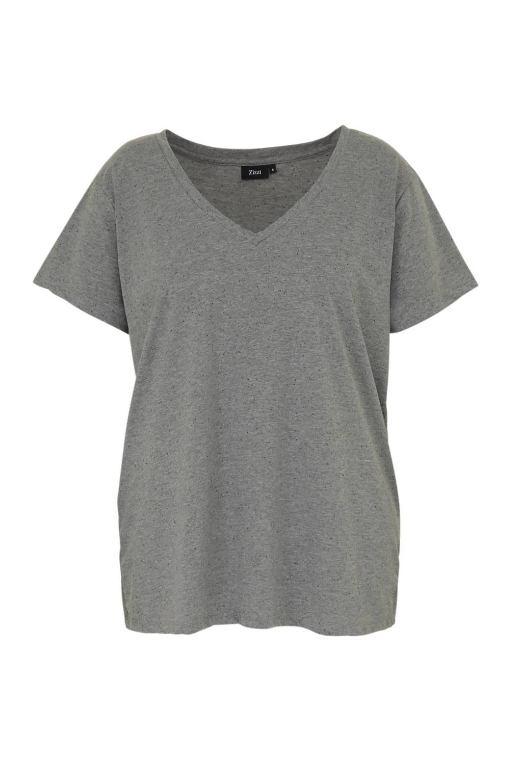 Zizzi T-shirt Cloë grijs, Grijs