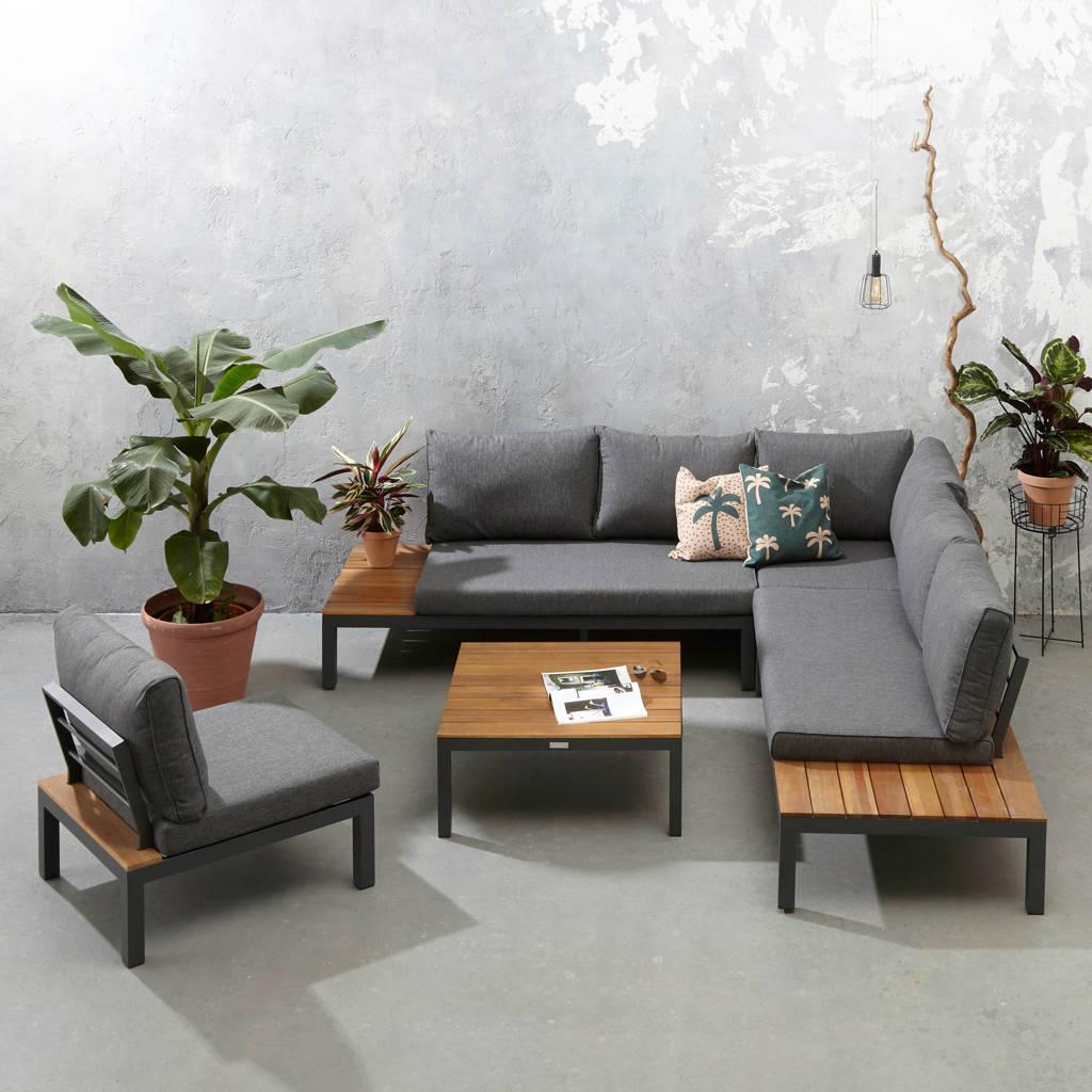 Exotan loungeset La Vida met loungestoel (hout), Antraciet/Naturel/Grijs