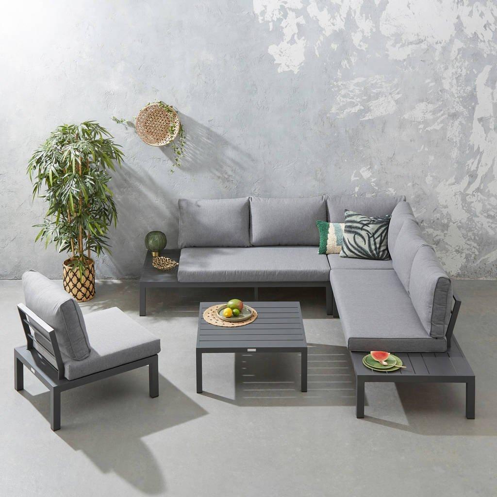 Exotan loungeset La Vida met loungestoel (aluminium), Antraciet/grijs