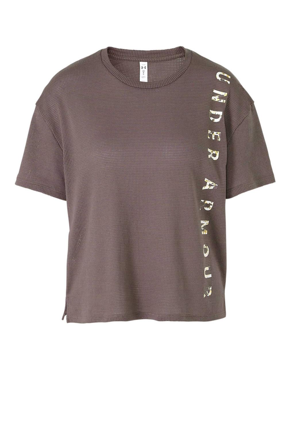 Under Armour sport T-shirt grijs, Taupe
