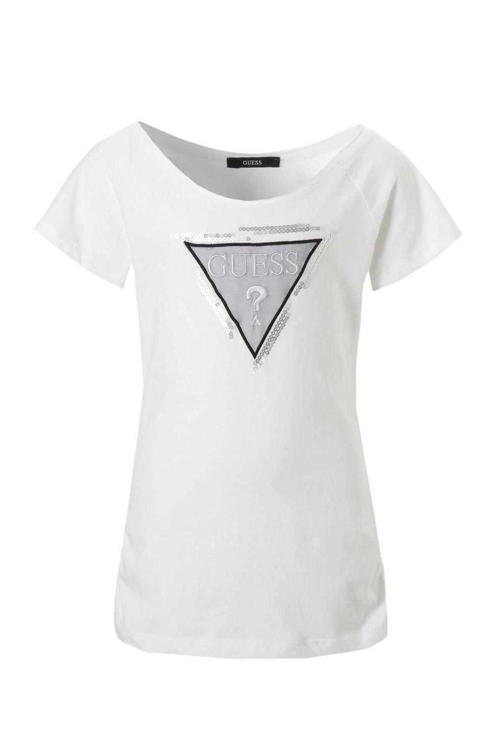 GUESS T-shirt met logo, Wit